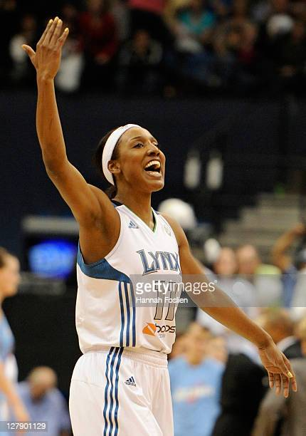 Candice Wiggins of the Minnesota Lynx celebrates during the fourth quarter against the Atlanta Dream in Game One of the 2011 WNBA Finals on October 2...