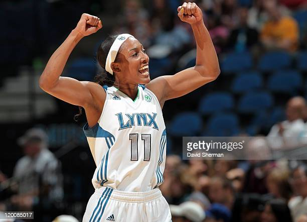 Candice Wiggins of the Minnesota Lynx celebrates during the game against the Seattle Storm on July 29 2011 at Target Center in Minneapolis Minnesota...