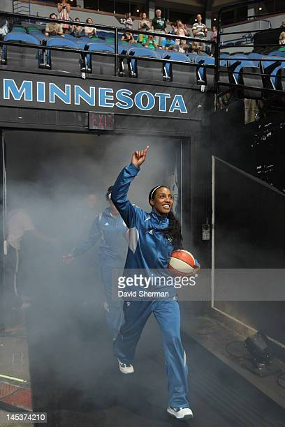 Candice Wiggins of the Minnesota Lynx enters the court with her teammates in the game against the Seattle Storm on May 27 2012 at Target Center in...
