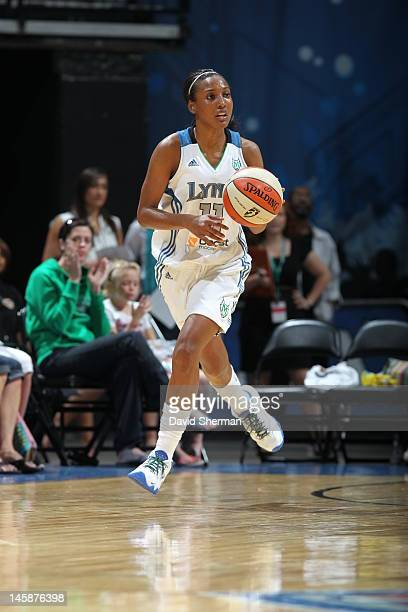 Candice Wiggins of the Minnesota Lynx handles the ball against the Seattle Storm during the game on June 6 2012 at Target Center in Minneapolis...