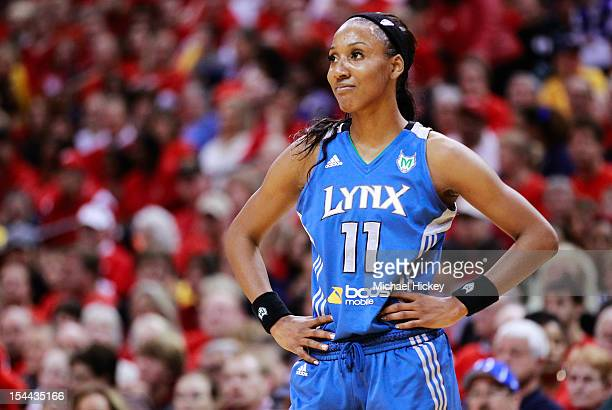 Candice Wiggins of the Minnesota Lynx looks at the benches during a break in action against the Indiana Fever during Game Three of the 2012 WNBA...