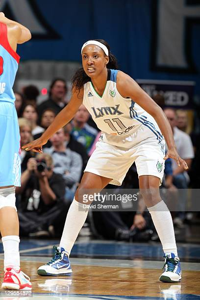 Candice Wiggins of the Minnesota Lynx plays against the Atlanta Dream in Game One of the 2011 WNBA Finals on October 2 2011 at Target Center in...