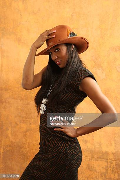 Candice Wiggins of the Minnesota Lynx poses for portraits during the NBAE Circuit as part of 2013 AllStar Weekend at the Hilton Americas Hotel on...