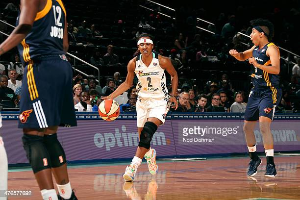 Candice Wiggins of the New York Liberty drives against the Indiana Fever on June 9 2015 at Madison Square Garden in New York New York NOTE TO USER...