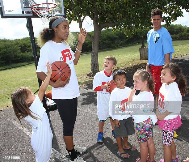 Candice Wiggins of the New York Liberty hosts a WNBA FIT Clinic at Maui Family YMCA on October 6 2015 in Maui Hawaii NOTE TO USER User expressly...