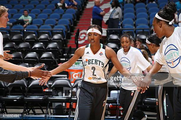 Candice Wiggins of the New York Liberty is introduced before the WNBA preseason game against the Minnesota Lynx on June 1 2015 at Target Center in...