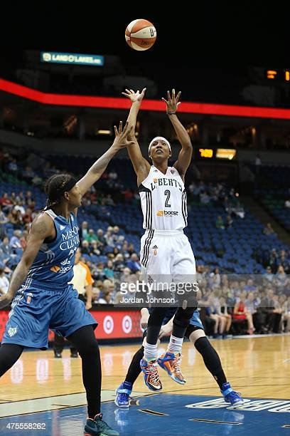 Candice Wiggins of the New York Liberty takes a shot the Minnesota Lynx during the WNBA preseason game on June 1 2015 at Target Center in Minneapolis...