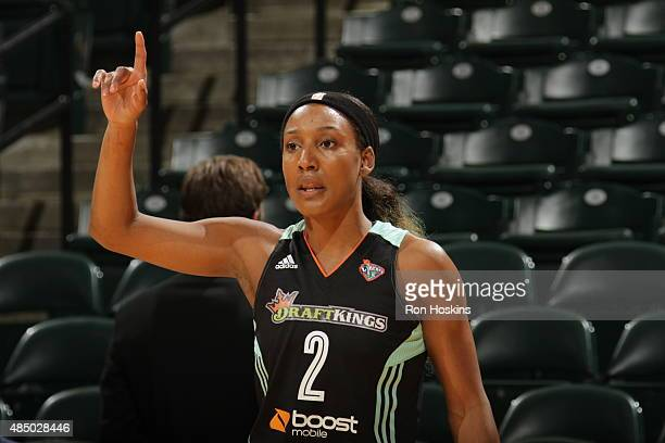 Candice Wiggins of the New York Liberty warms up before a game against the Indiana Fever on August 23 2015 in Indianapolis Indiana NOTE TO USER User...
