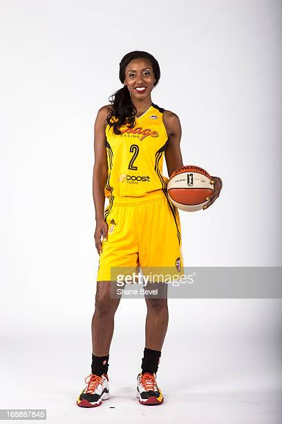 Candice Wiggins of the Tulsa Shock poses for a picture during the team media day photo shoot on May 15 2013 at the BOK Center in Tulsa Oklahoma NOTE...