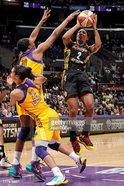 Candice Wiggins of the Tulsa Shock puts up a shot against the Los Angeles Sparks at Staples Center on August 25 2013 in Los Angeles California NOTE...