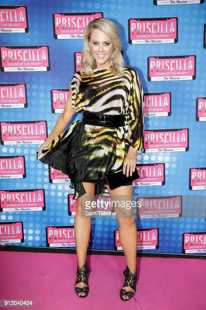 Candice Wyatt arrives for opening night of Priscilla Queen Of The Desert at Regent Theatre on January 30 2018 in Melbourne Australia