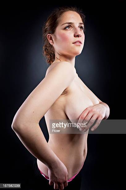 candid beautiful young woman indoor, nude, portrait