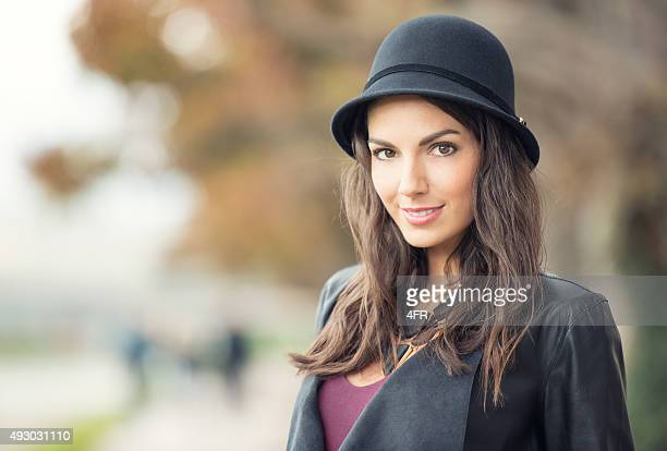 Candid Outdoor Portrait, Woman with Hat