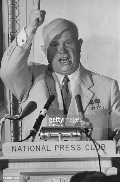 Candid photo of Soviet Premier Khrushchev made while he addressed a National Press Club luncheon today.