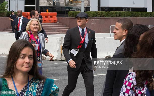 Candid photos of actor Daniel Craig during the first day of the general debate of the General Assembly's seventieth session today in New York City