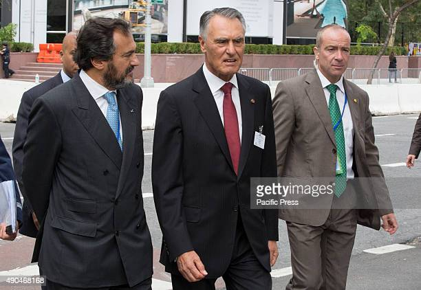 Candid photos of Anibal Cavaco Silva President of Portugal during the first day of the general debate of the General Assembly's seventieth session...