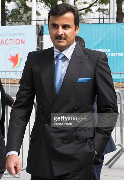 Candid photos of Sheikh Tamim bin Hamad AlThani Amir of the State of Qatar during the first day of the general debate of the General Assembly's...