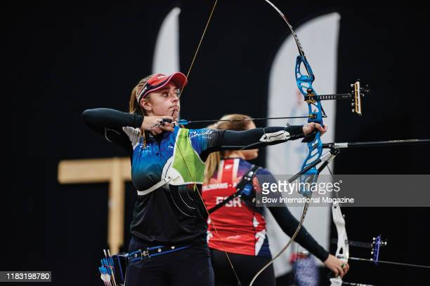 Candid portrait of archer Bryony Pitman competing in the Women's Recurve Back 2 Back event photographed during the Archery GB 2017 National Indoor...