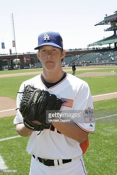 Candid portrait of Clayton Kershaw of the United States Futures Team before the game against the World Futures Team at ATT Park in San Francisco...