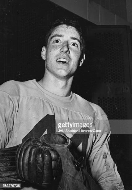 Candid portrait of Johns Hopkins University lacrosse defenseman Harry Nice, 1956. .