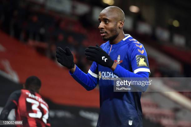 Candid portrait of Oldham Athletic's Dylan Bahamboula during the FA Cup match between Bournemouth and Oldham Athletic at the Vitality Stadium,...