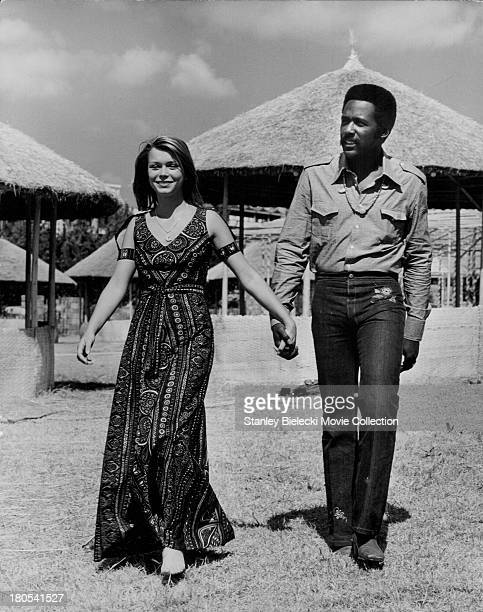 Candid promotional shot of actors Richard Roundtree and Neda Arneric as they appear in the movie 'Shaft in Africa' 1973