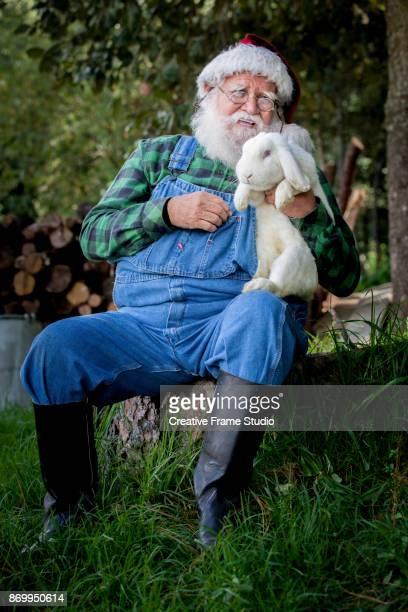 Candid Santa Claus Farmer enjoying and caressing a white rabbit.