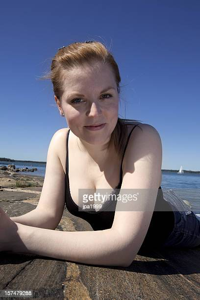candid scandinavian woman - candid cleavage stock pictures, royalty-free photos & images