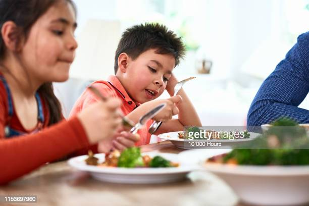 candid shot of girl and boy eating healthy food - filipino family dinner stock pictures, royalty-free photos & images