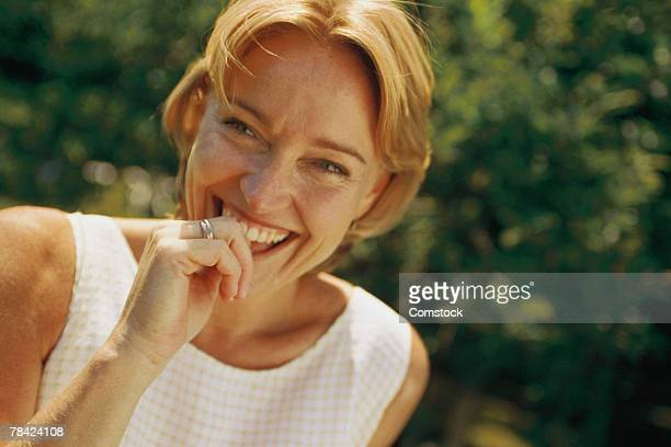 Candid shot of woman laughing
