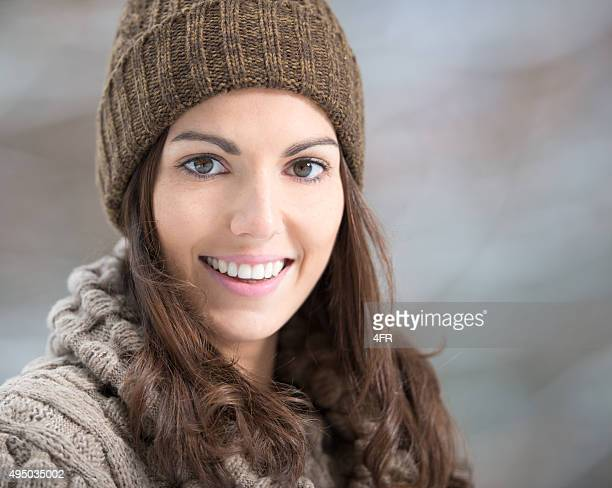 Candid Winter Portrait, Beautiful Woman