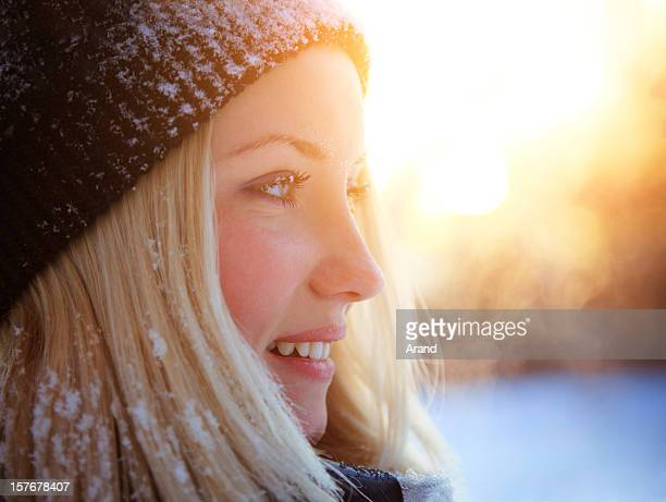 candid winter young woman portrait