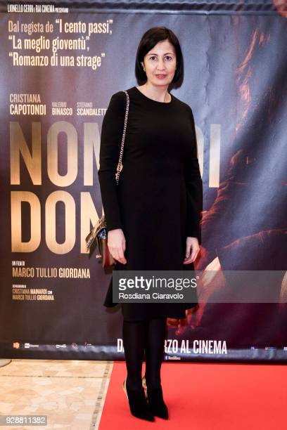 Candida Morvillo attends 'Nome di Donna' premiere on March 7, 2018 in Milan, Italy.
