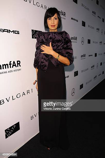 Candida Morvillo attends the amfAR Milano 2014 - Gala as part of Milan Fashion Week Womenswear Spring/Summer 2015 on September 20, 2014 in Milan,...