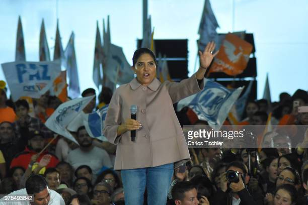 Candidate Alejandra Barrales president of the Party of the Democratic Revolution talks during a Civic Gathering as part of Ricardo Anaya's election...