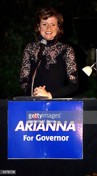 Candidate Arianna Huffington attends the fundraiser to support her gubernatorial campaign at the Lawrence Bender estate on September 9 2003 in Bel...