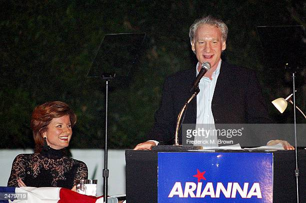 Candidate Arianne Huffington and Bill Mahr attend the fundraiser to support the gubernatorial campaign for candidate Arianna Huffington at the...