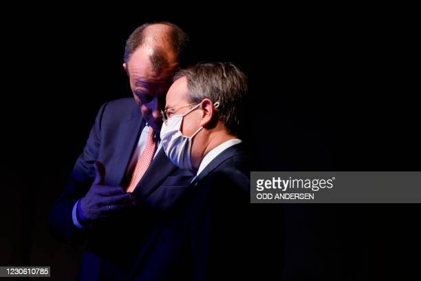 Candidate as leader of the Christian Democratic Union Friedrich Merz and North Rhine-Westphalia's State Premier and candidate as leader of the...