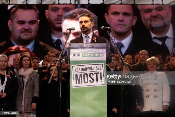 Candidate as Prime Minister of the main opposition party, the 'Jobbik' party , in the upcoming election, Gabor Vona delivers a speech in Budapest on...