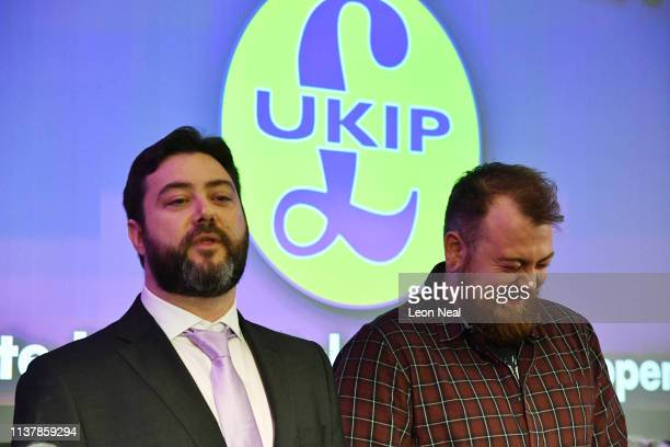 Candidate Carl Benjamin and YouTuber Mark Meechan attend the launch of the UKIP European election campaign in Westminster on April 18 2019 in London...