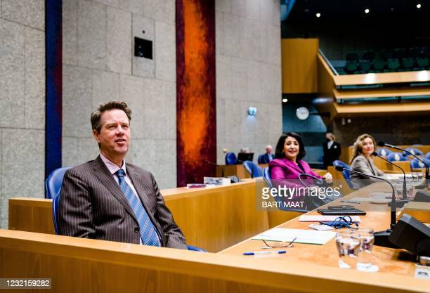 Candidate chamber chairman and women Martin Bosma , Khadija Arib and Vera Bergkamp are pictured prior to the election of a new chairman of the House...