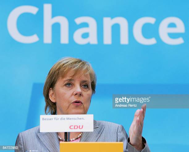 Candidate Chanellor Angela Merkel of the Christian Democratioc Union reacts to her tv debate with Chancellor Gerhard Schroeder September 5 2005 in...