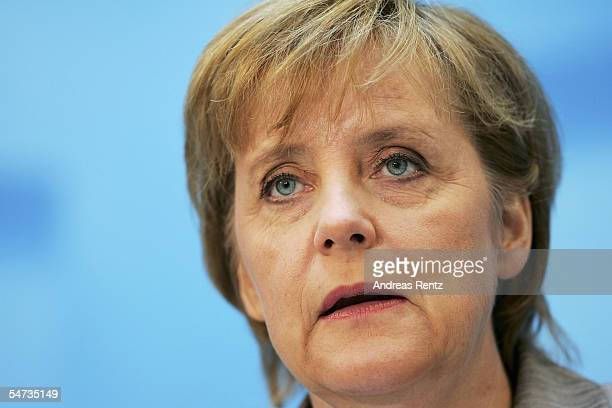 Candidate Chanellor Angela Merkel of the Christian Democratioc Union reacts of her tv debate with Chancellor Gerhard Schroeder September 5 2005 in...