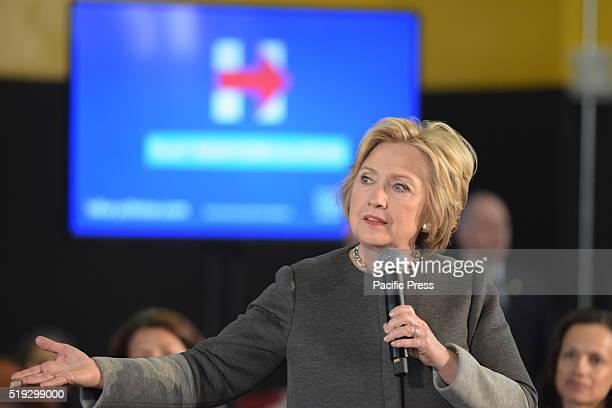 Candidate Clinton gestures for emphasis during her town hall remarks Democratic presidential candidate Hillary Rodham Clinton held a town hall...
