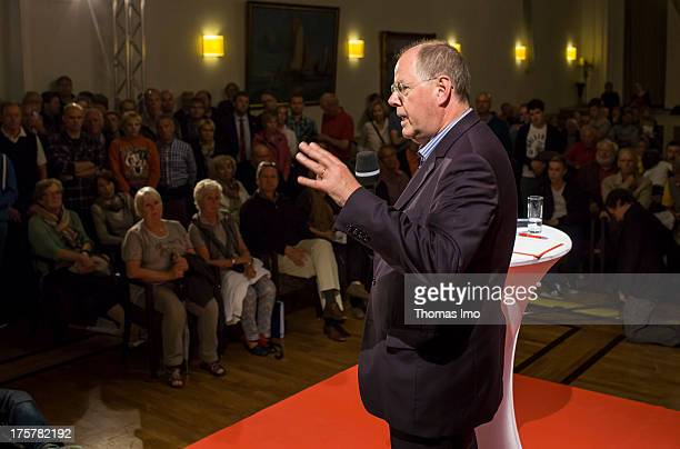 Candidate for German Chancellor Peer Steinbueck of the Social Democratic Party during a QA event on August 07 2013 on the island of Norderney Germany