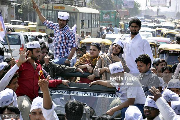 AAP candidate for Ghaziabad Lok Sabha seat Shazia Ilmi doing road show for election campaigning at Ramlila Maidan on March 20 2014 in Ghaziabad India...