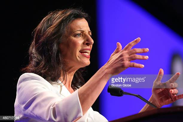 Candidate for governor Juliette Kayyem speaks at the Democrat State Convention at the DCU Center in Worcester Mass