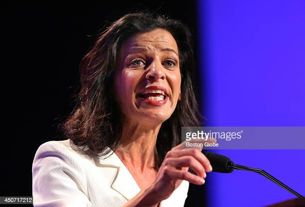 Candidate for governor Juliette Kayyem waves to the audience before her speech at the Democrat State Convention at the DCU Center in Worcester Mass