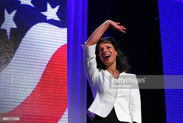Candidate for governor Juliette Kayyem waves to the crowd before her speech at the Democrat State Convention at the DCU Center in Worcester Mass