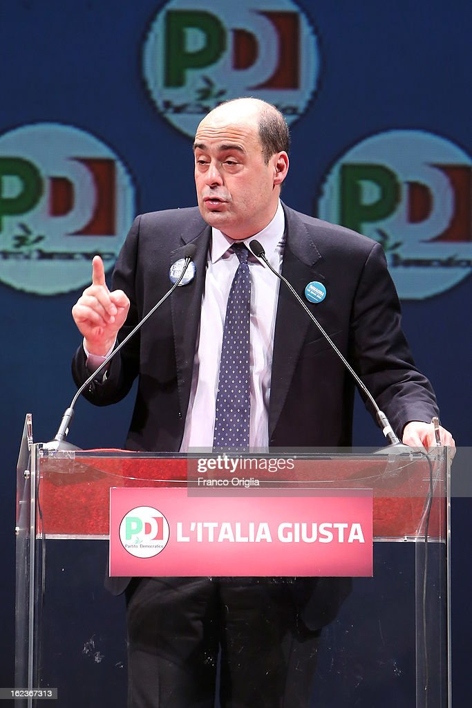 PD (Democratic Party) candidate for Lazio regional elections and current President of the province of Rome Nicola Zingaretti holds a speech at the PD final campaign rally at the Ambra Jovinelli theatre on February 22, 2013 in Rome, Italy. Italy goes to the polls this weekend amid economic fears and social dissatisfaction.